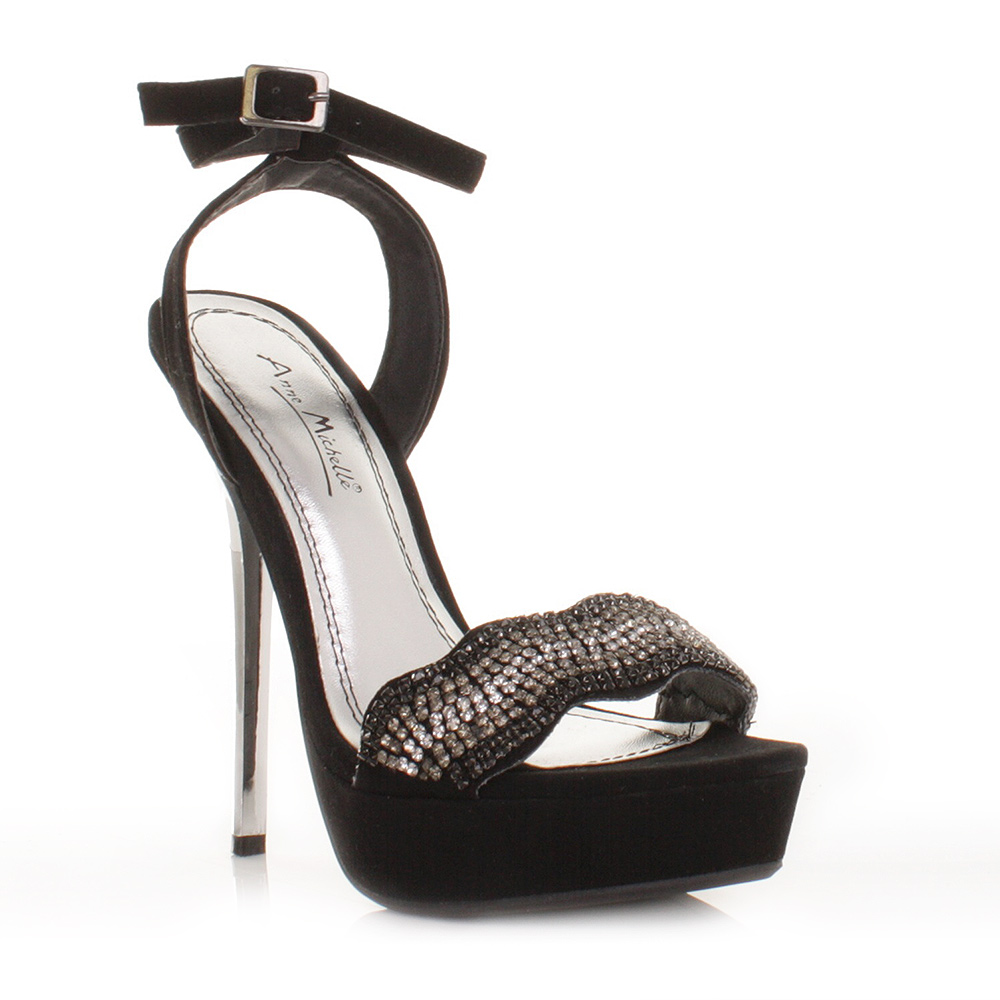 womens black diamante platform silver heel