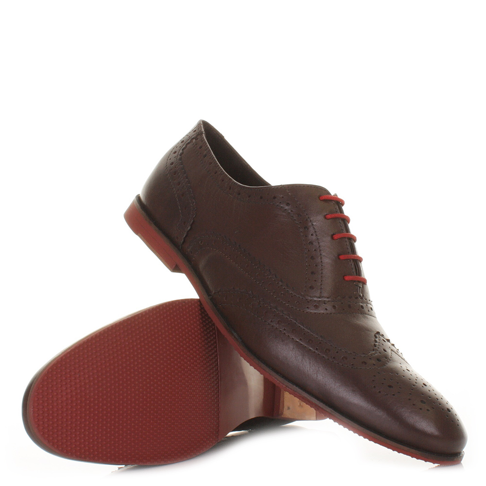 mens hush puppies lu brown leather brogue smart lace up
