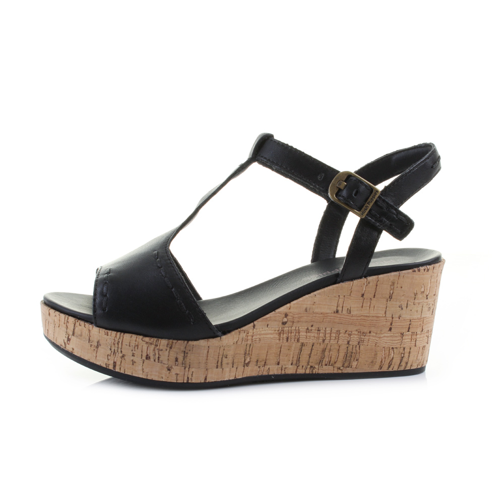 Womens sandals wedges - Womens Ladies Hush Puppies Blakely Durante Black Leather