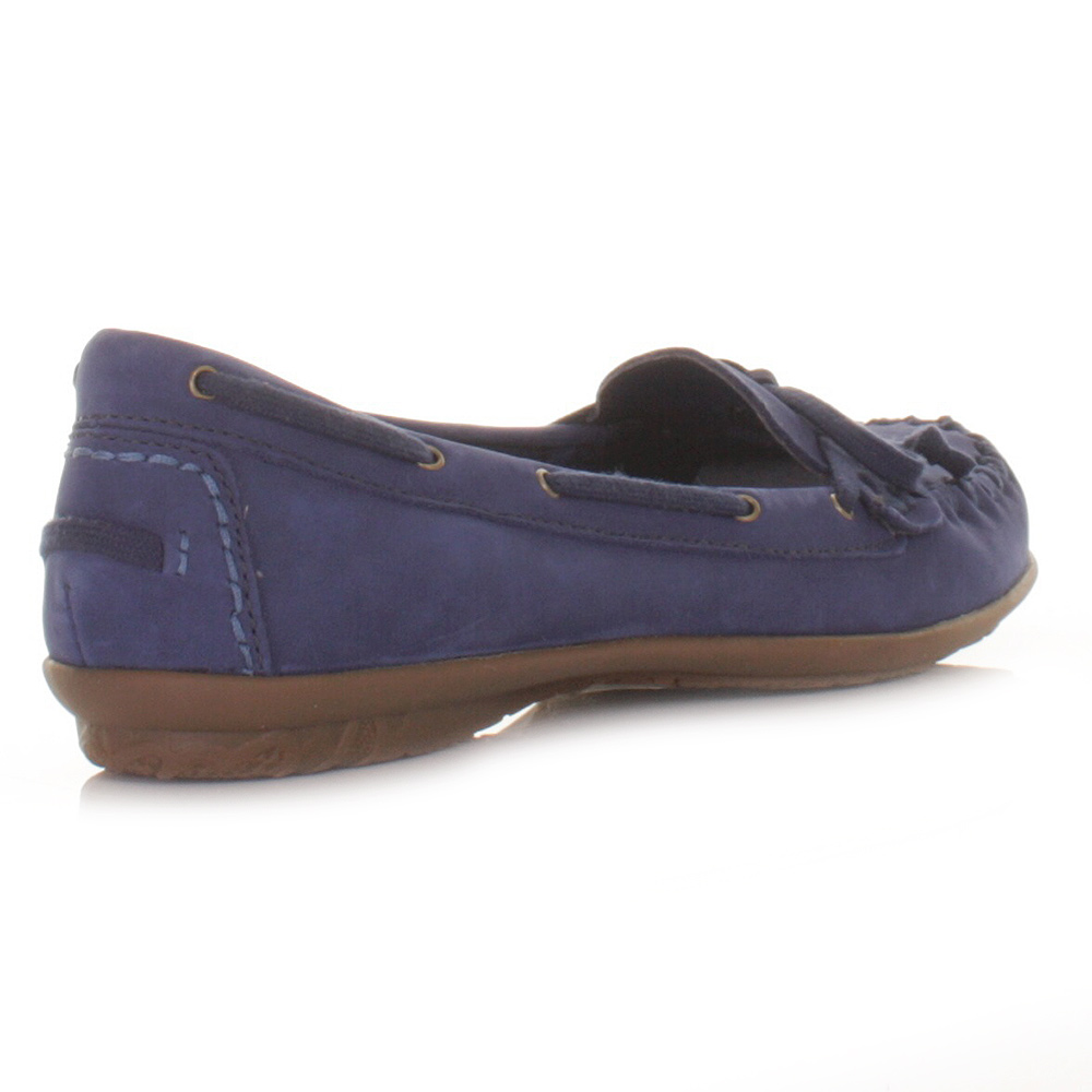 Womens Hush Puppies Ceil Mocassin Navy Loafers Deck Shoes