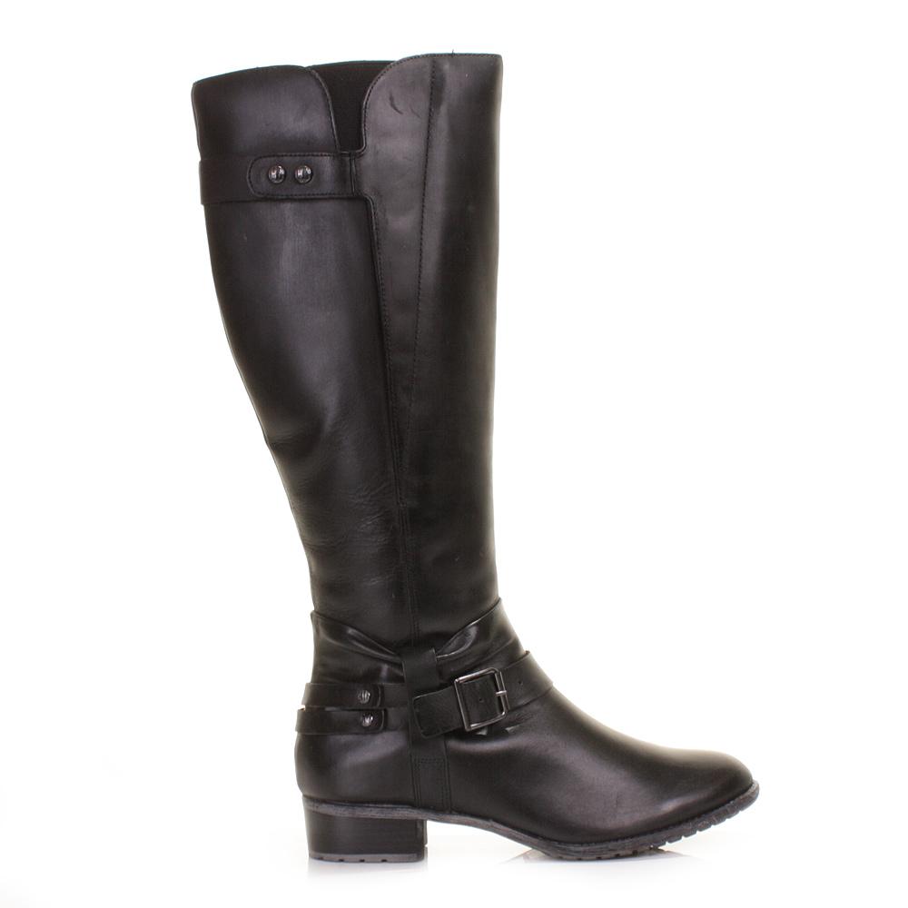 womens hush puppies black chamber leather knee high