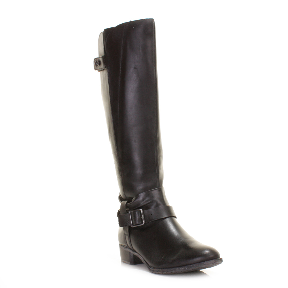 womens hush puppies black chamber leather knee high