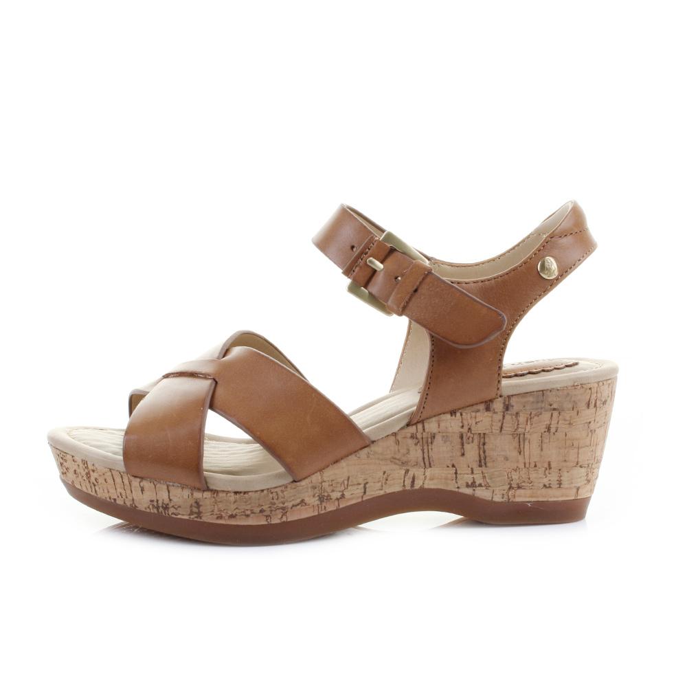 Womens sandals wedges - Womens Hush Puppies Eva Farris Tan Leather Cork Wedge Heel Sandals Shu Size