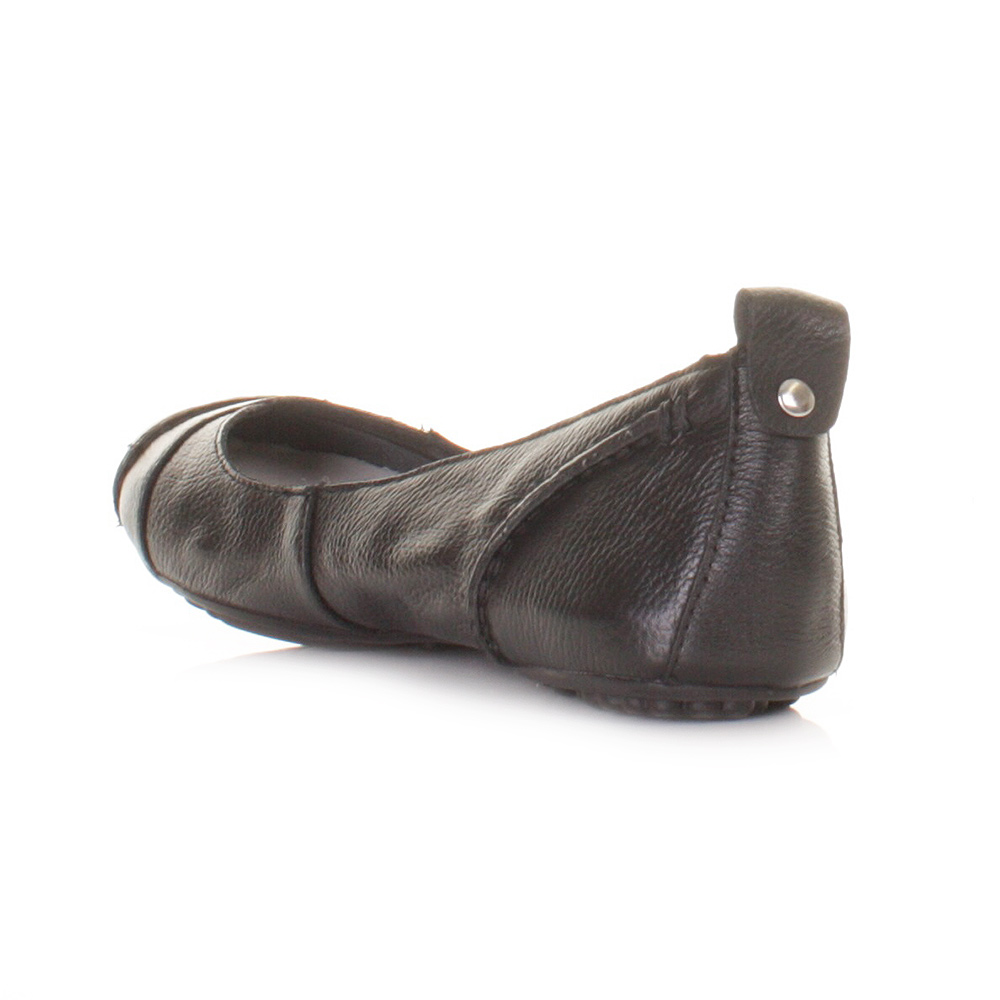 Details about WOMENS HUSH PUPPIES BLACK LEATHER JANESSA FLAT SHOES