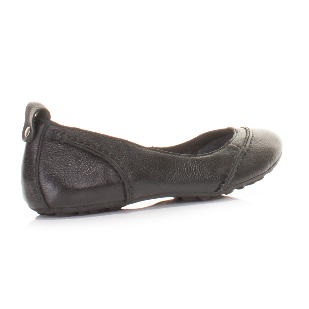 womens hush puppies black leather janessa flat shoes