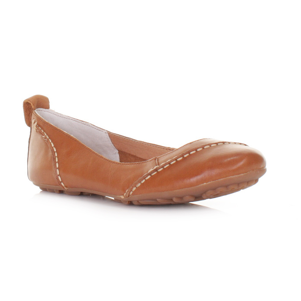 womens hush puppies janessa leather flat comfy shoes