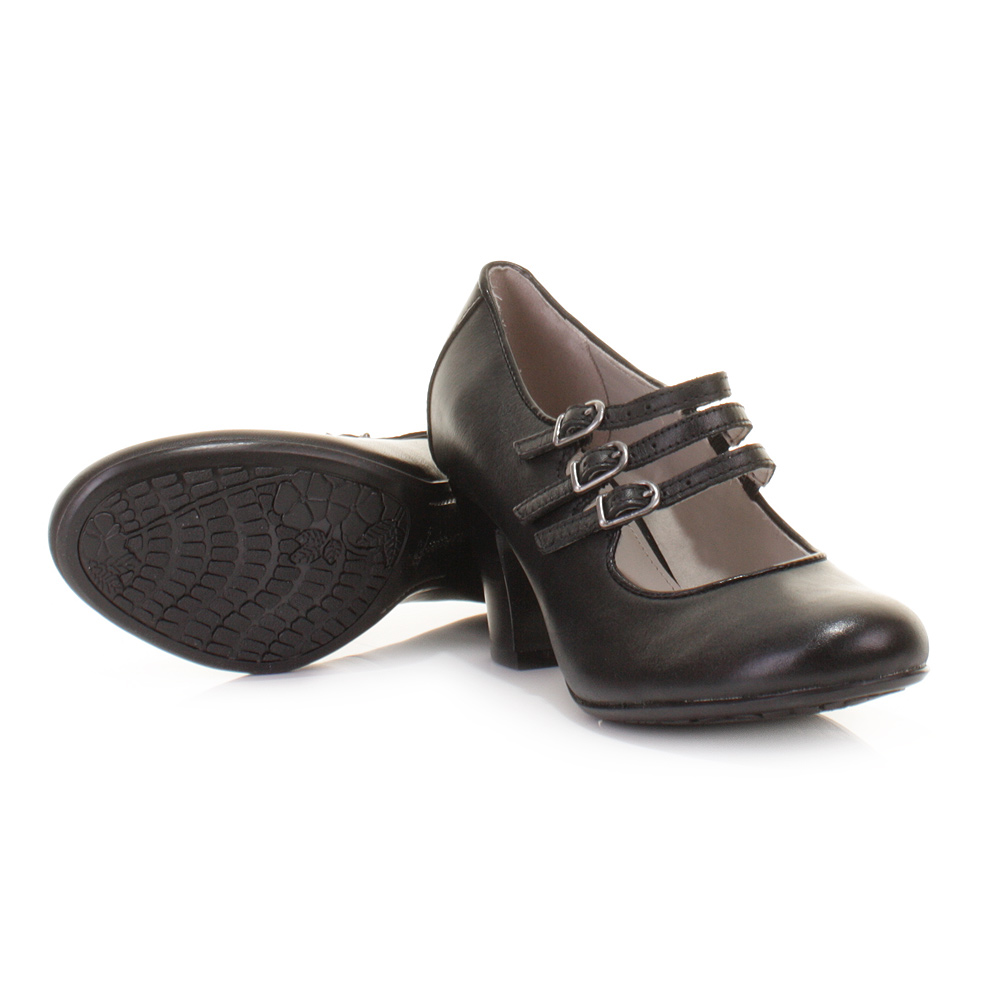 Womens Hush Puppies Lonna Mary Jane Black Leather Court