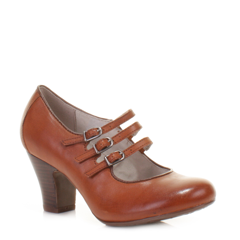 Light Brown Tan Leather Mary Jane Style Shoes