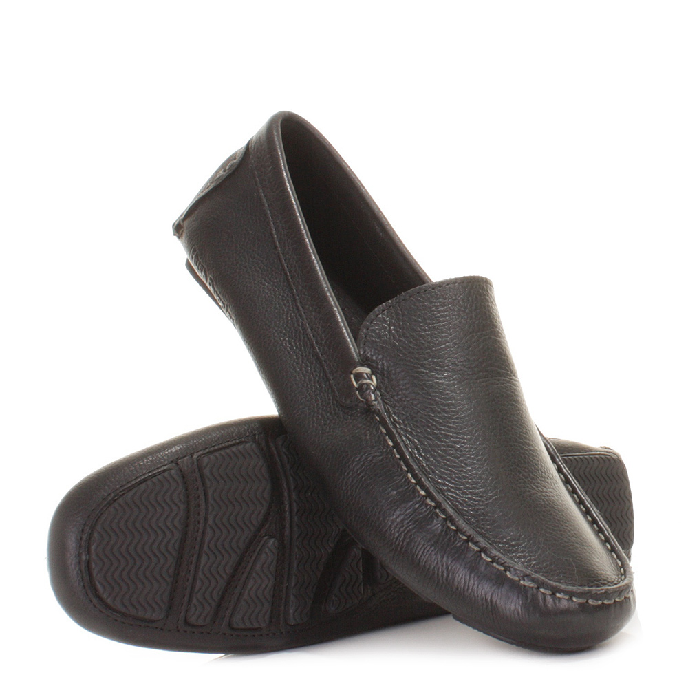 mens hush puppies monaco slip on black leather loafers