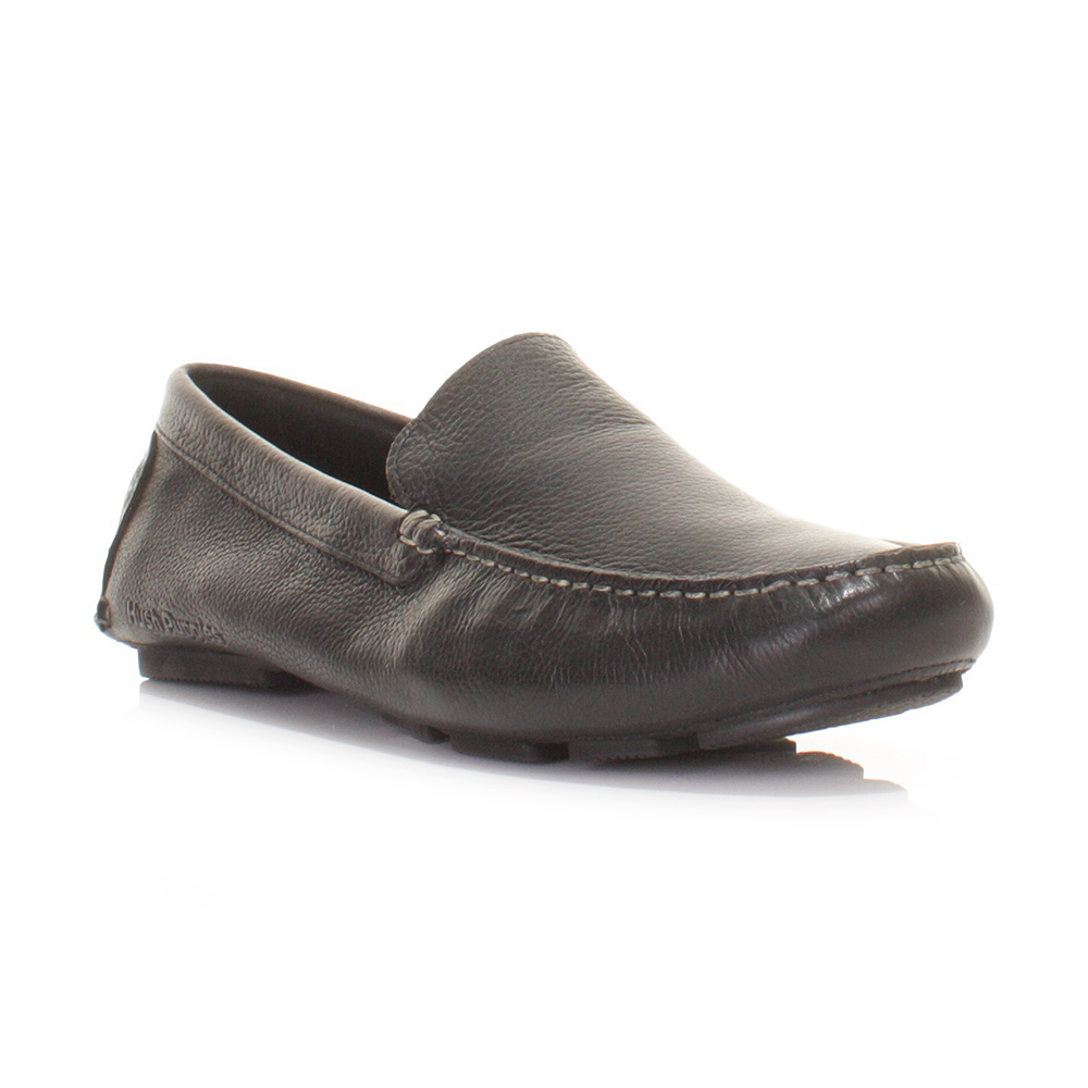 Black Hush Puppies Leather Slip On Casual Shoes