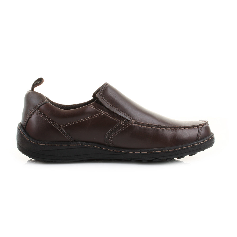 mens hush puppies belfast slip on mt brown leather slip on