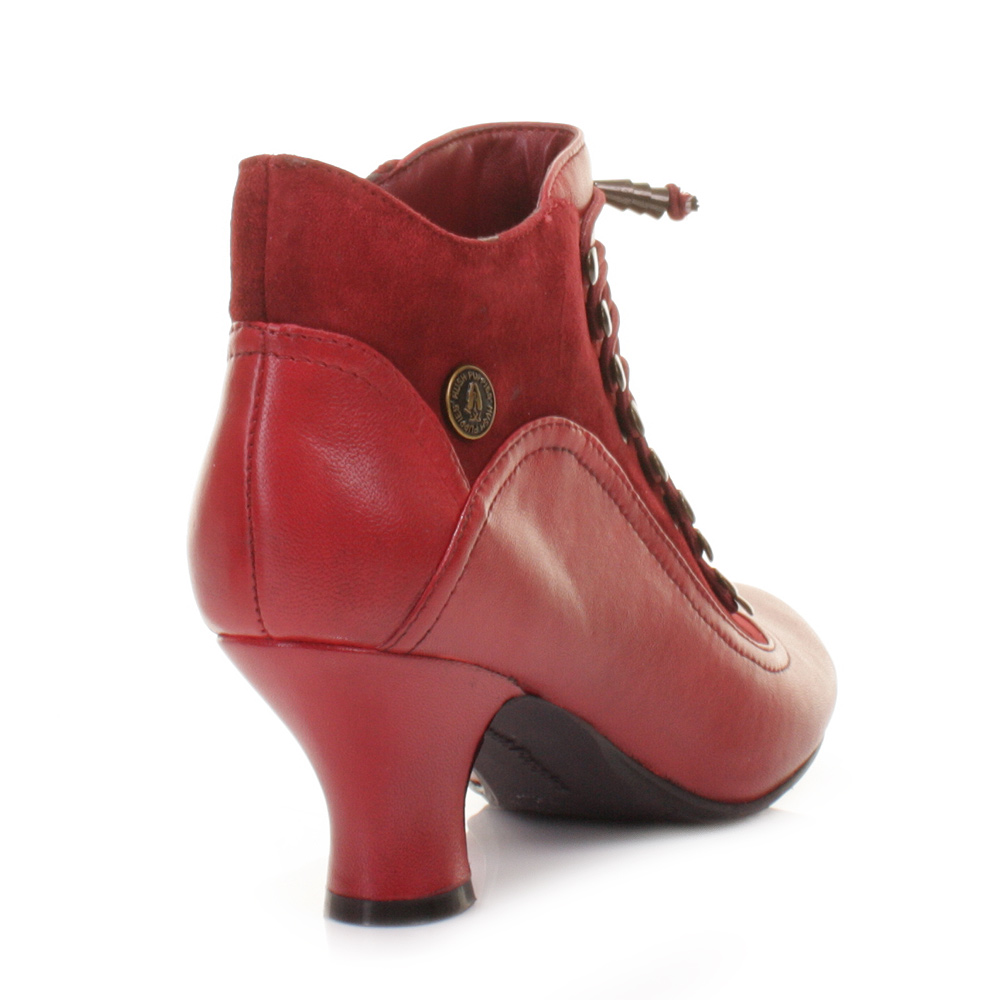 Red Kitten Heel Boots