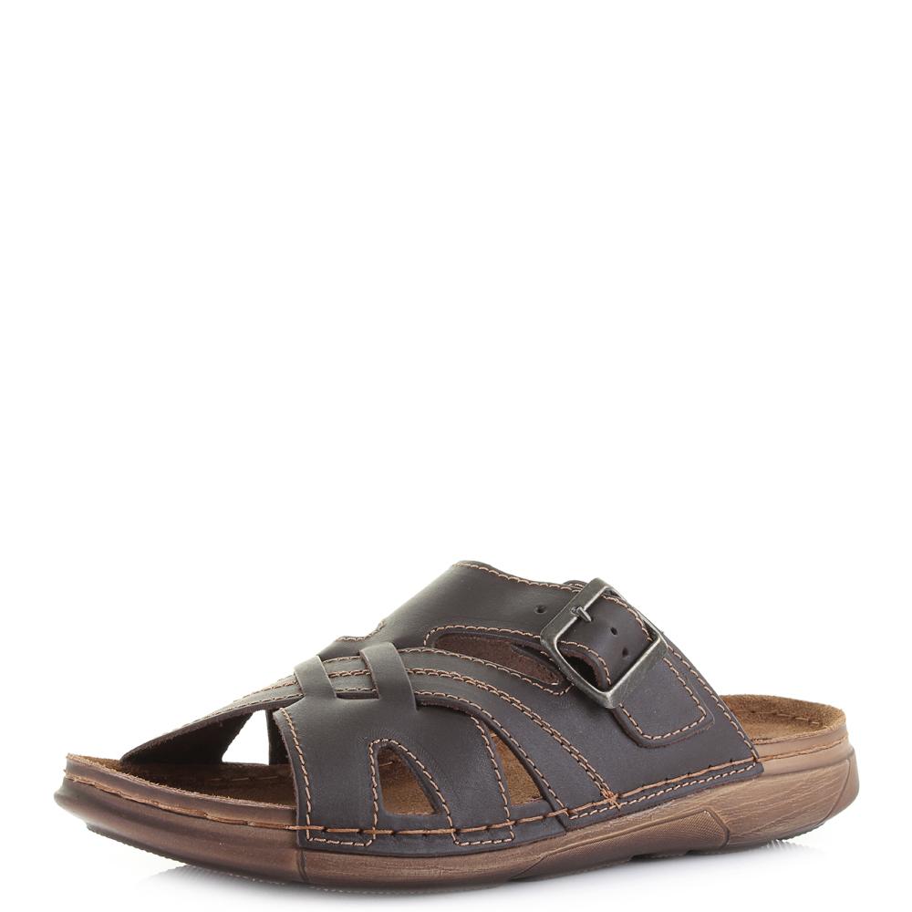 mens inblu dx 19 brown leather slip on comfort summer