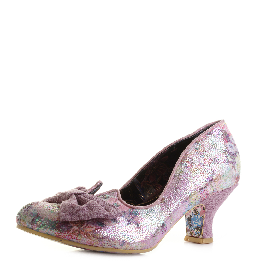 Womens Irregular Choice Dazzle Razzle Pink Metallic Low Heel Court