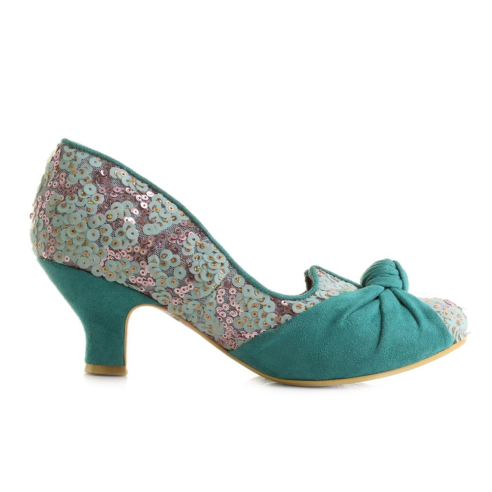 Irregular Choice Dazzle Pants Low Heel Womens Black Blue Shoes