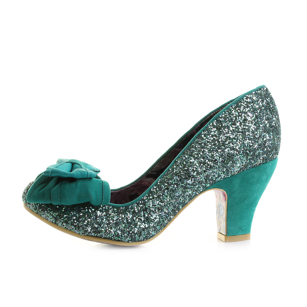 Green Low Heel Court Shoes