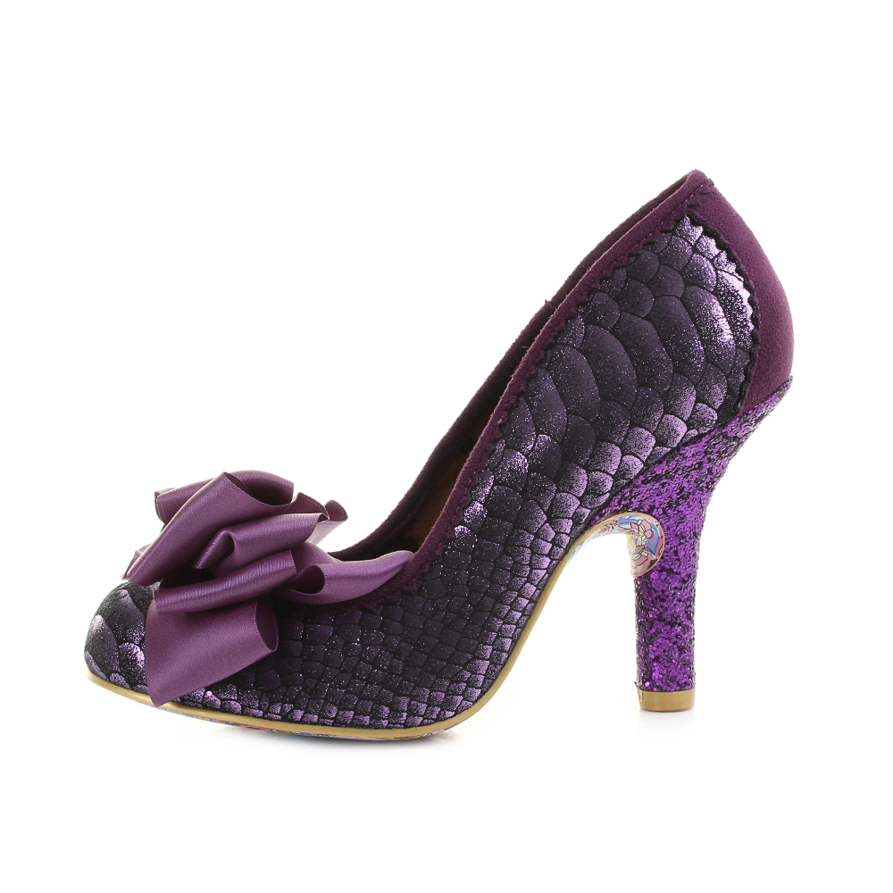 Womens Irregular Choice Ascot Purple Metallic Glitter Bow High ...