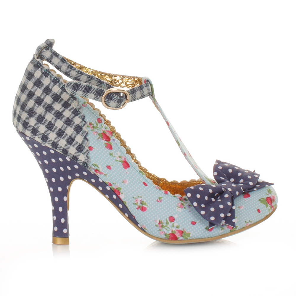 womens ladies irregular choice bloxy blue t bar court shoes heels size 3 8 ebay. Black Bedroom Furniture Sets. Home Design Ideas