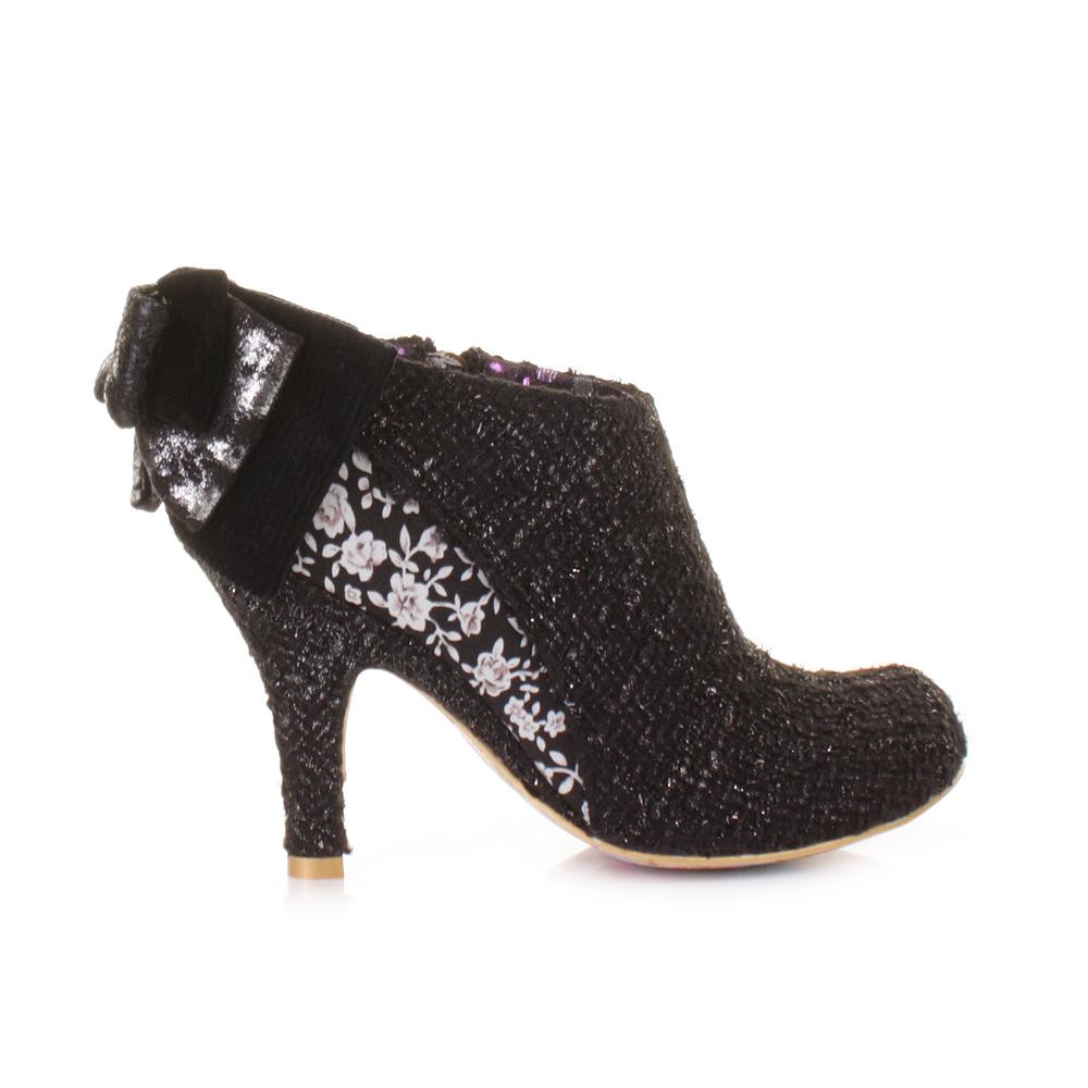 womens irregular choice baby black silver tweed