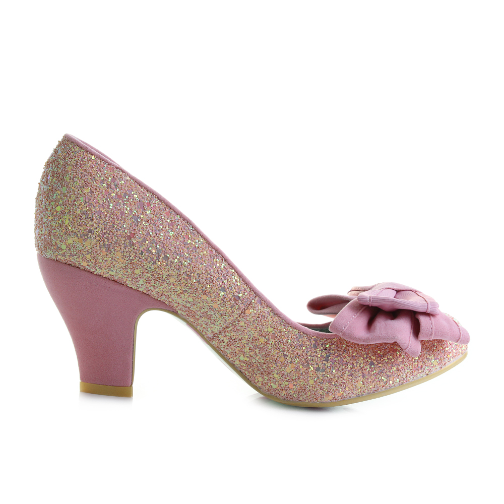 Womens Irregular Choice Ban Joe Pink Glitter Mid Heel Court Shoes ...