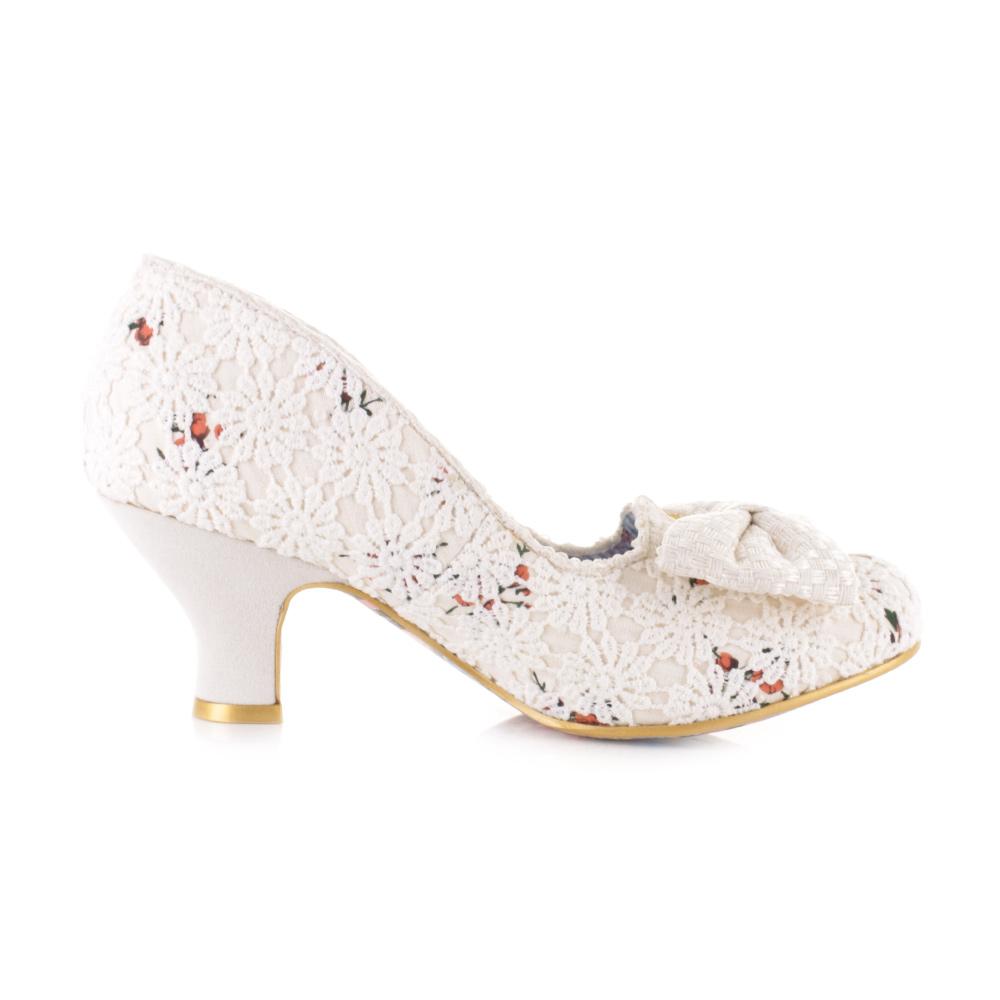 Womens Irregular Choice Dazzles 2Nd Razzle Cream Floral Wedding Shoes Size