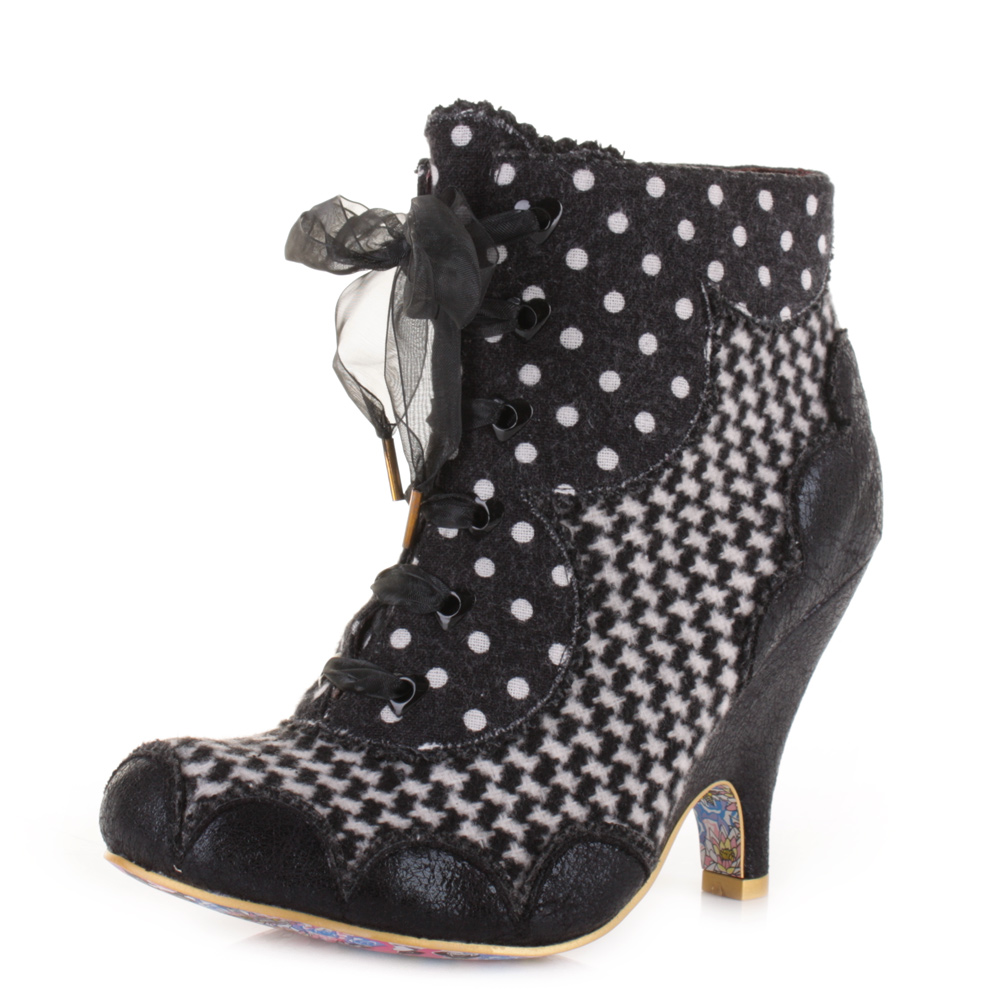 womens irregular choice dolly mixture black white ankle