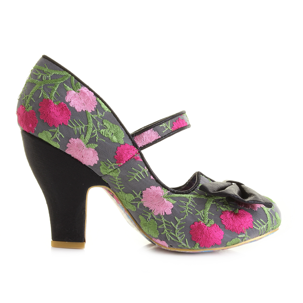 Womens Irregular Choice Fancy This Black Floral High Heel Court ...