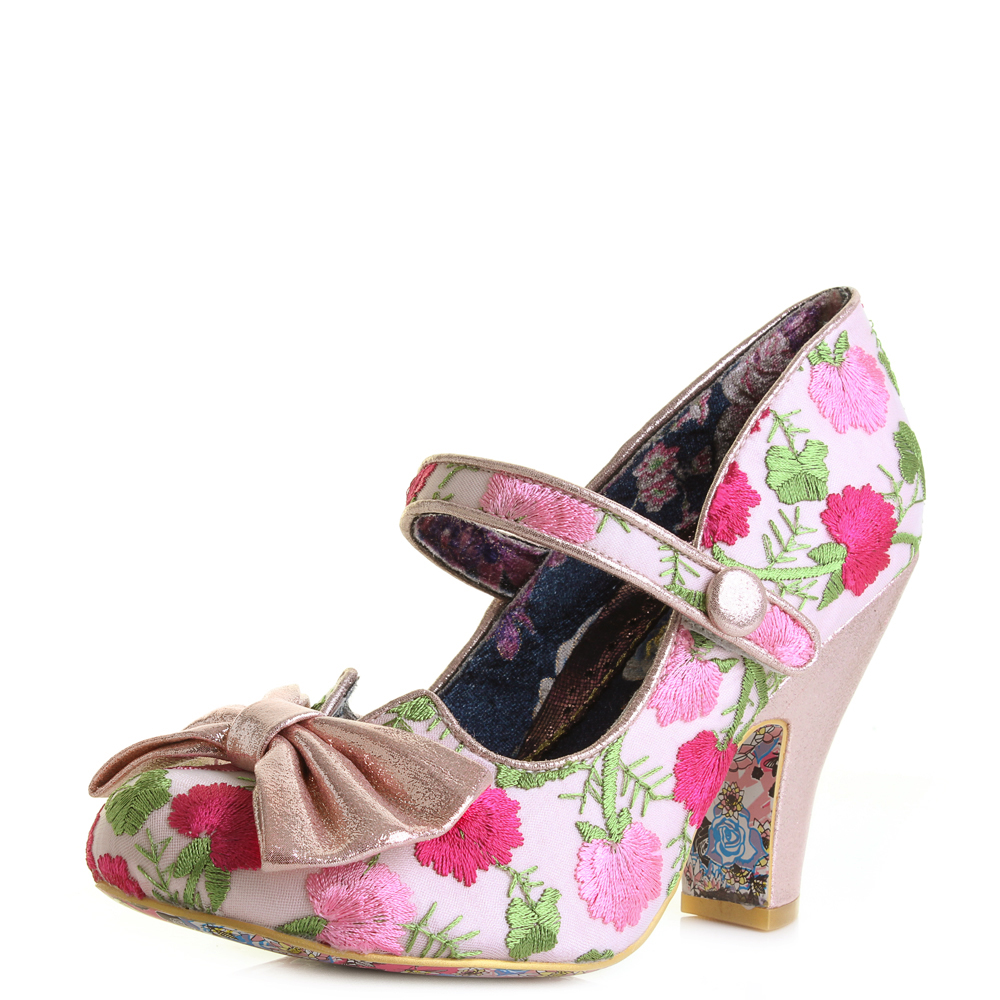 womens irregular choice fancy this pink floral metallic