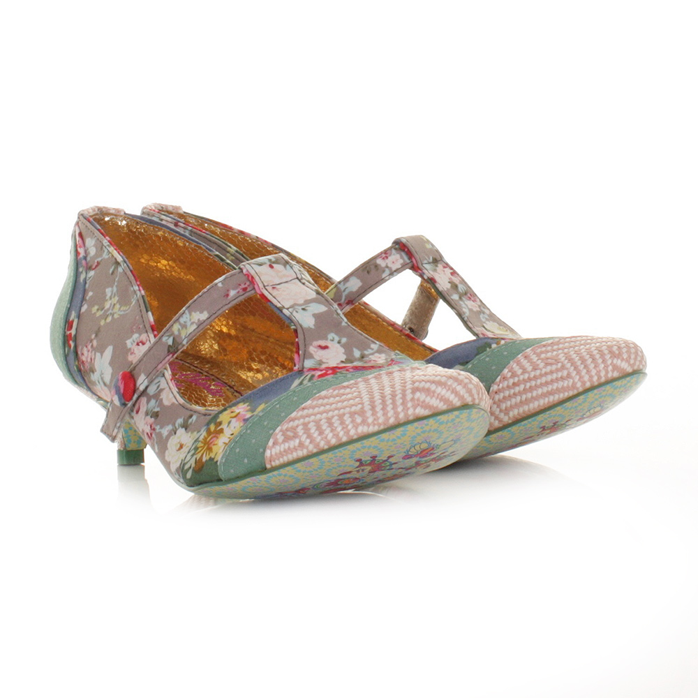 Irregular Choice Shoes In My Dreams Grey Floral Low Kitten Heel ...
