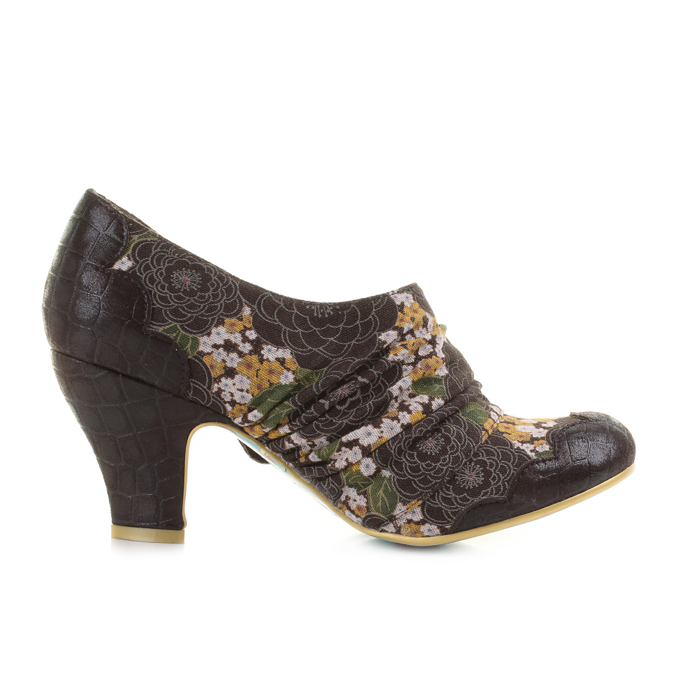 Womens Ladies Irregular Choice Jatta Brown Floral Mid Heel Shoes ...