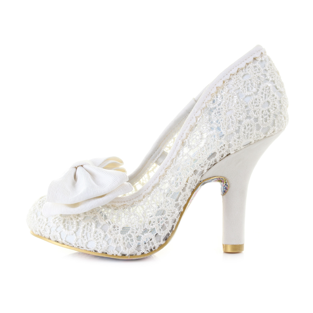 Womens Irregular Choice Mal E Bow Cream Bridal Elegant Wedding Shoes Size