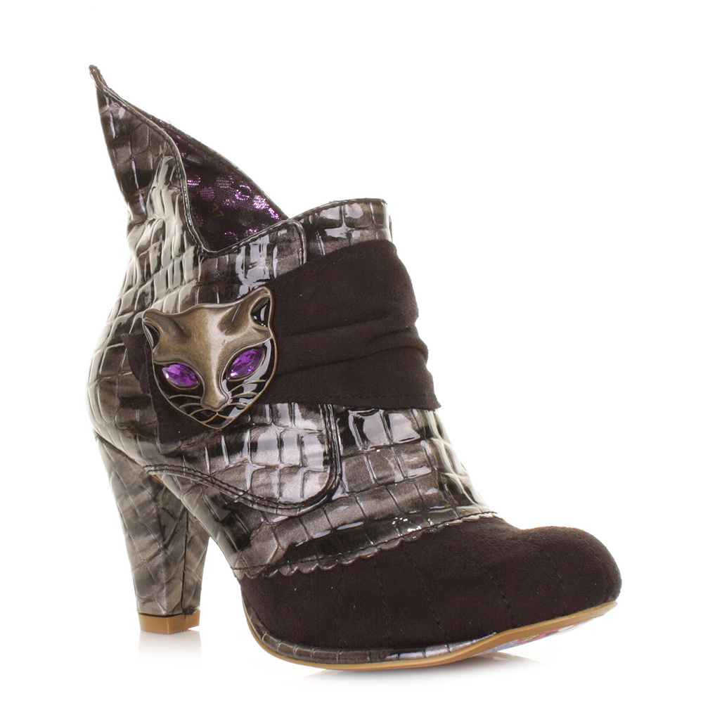 womens irregular choice black miaow cat heeled ankle