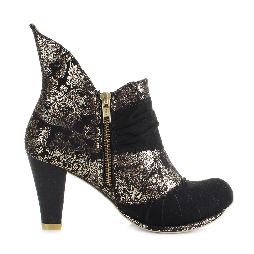 womens irregular choice miaow black gold heeled ankle