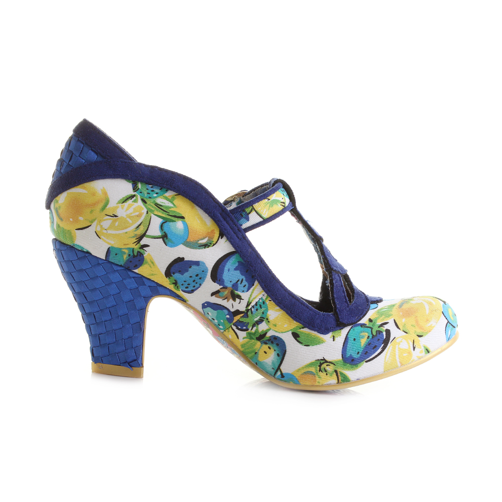 womens Irregular Choice Nicely Done Navy Floral Yellow Heeled ...