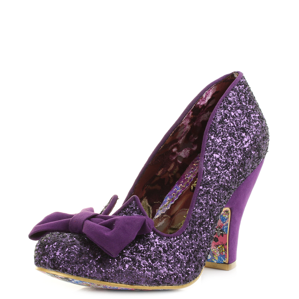 5fa18e1b89b5 Womens Irregular Choice Nick Of Time Purple Glitter Bow Court