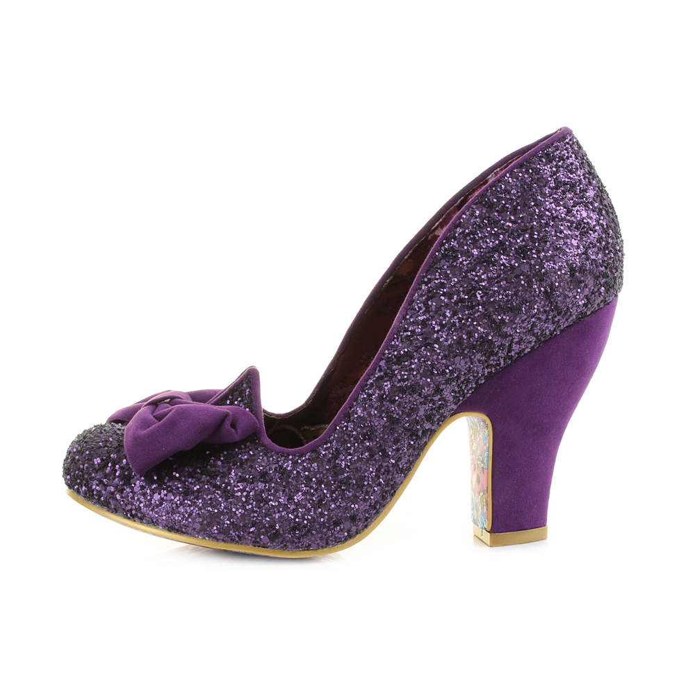 52b9699476d9 Womens Irregular Choice Nick Of Time Purple Glitter Bow Court .