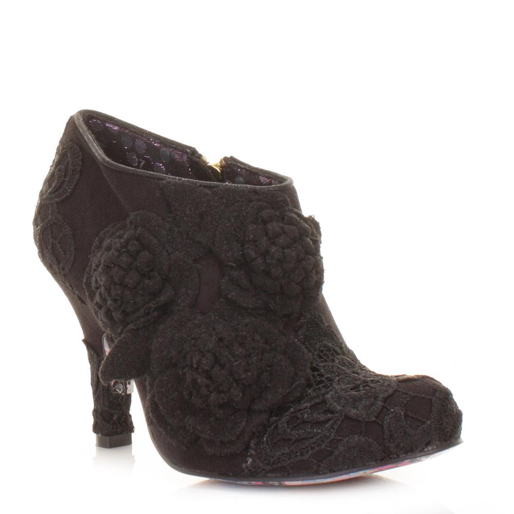 womens irregular choice cheeky moose black mid heel ankle