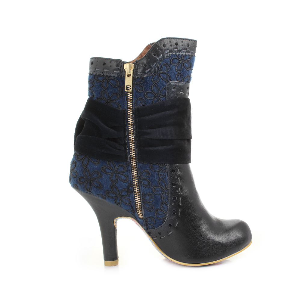 womens irregular choice rosie lea navy blue heeled ankle