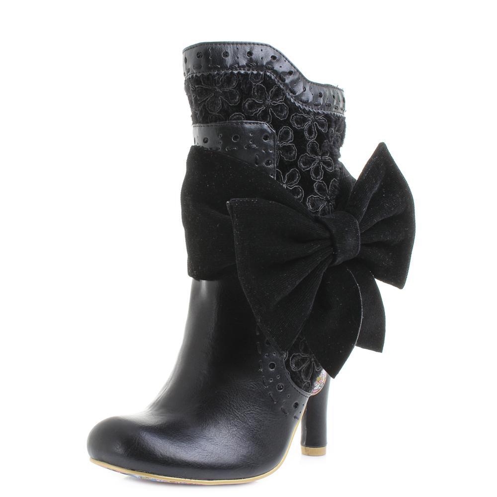 womens irregular choice rosie lea black textured heeled