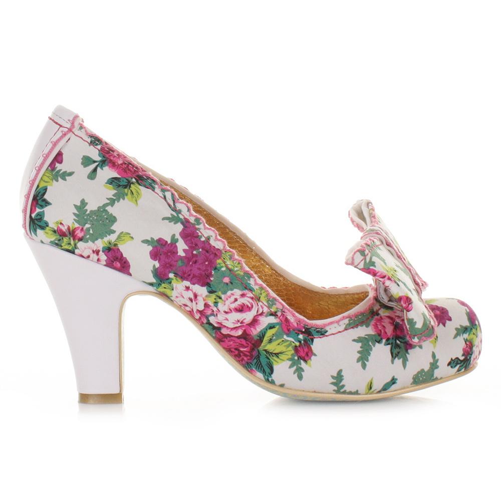 womens ladies irregular choice summer freckles white green floral shoes size5 10 ebay. Black Bedroom Furniture Sets. Home Design Ideas