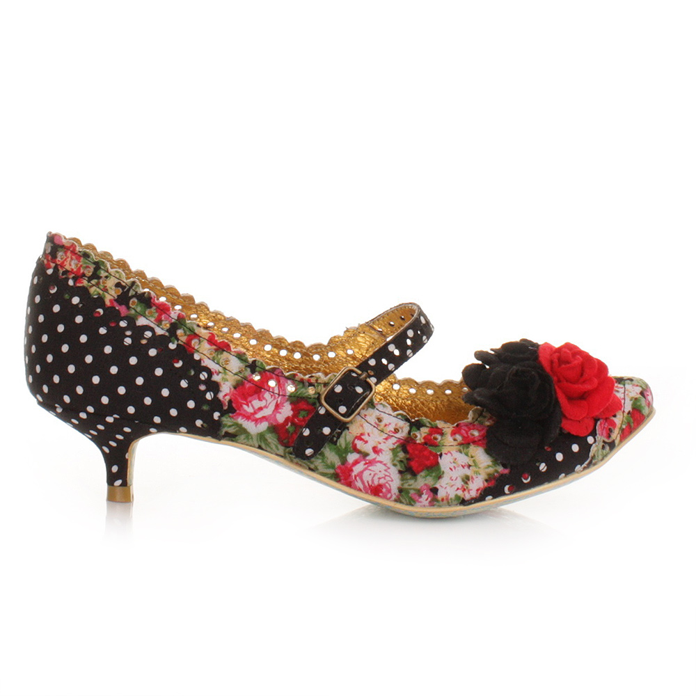 WOMENS IRREGULAR CHOICE DAISY DAYZ BLACK FLORAL MULTI KITTEN HEEL ...