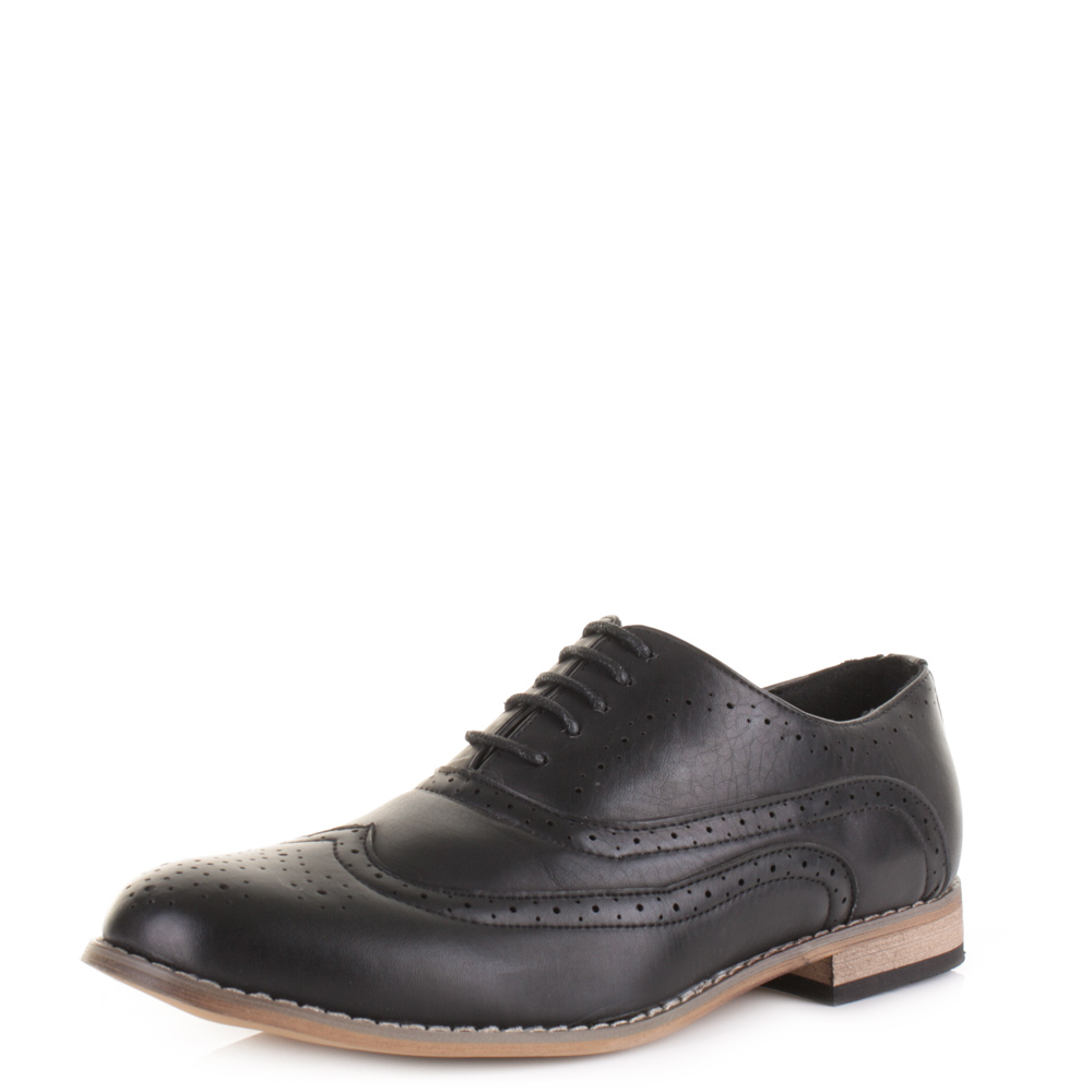 mens black smart brogue lace up wingtip leather style work