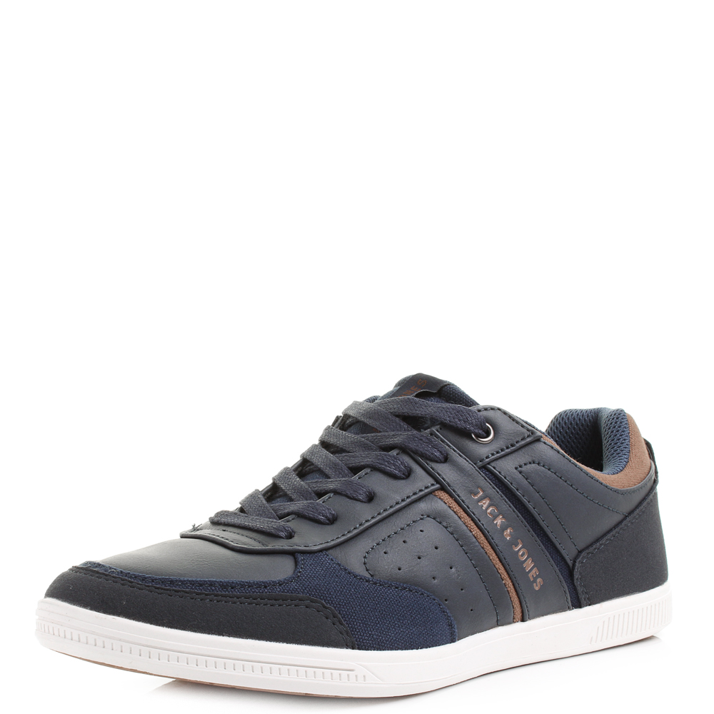 details about mens jack and jones baja mixed sneaker navy blue casual. Black Bedroom Furniture Sets. Home Design Ideas