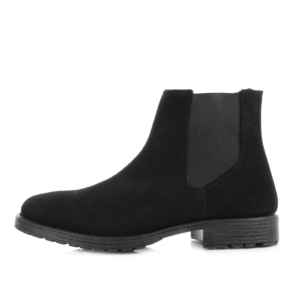mens and jones radnor black suede pull on chelsea