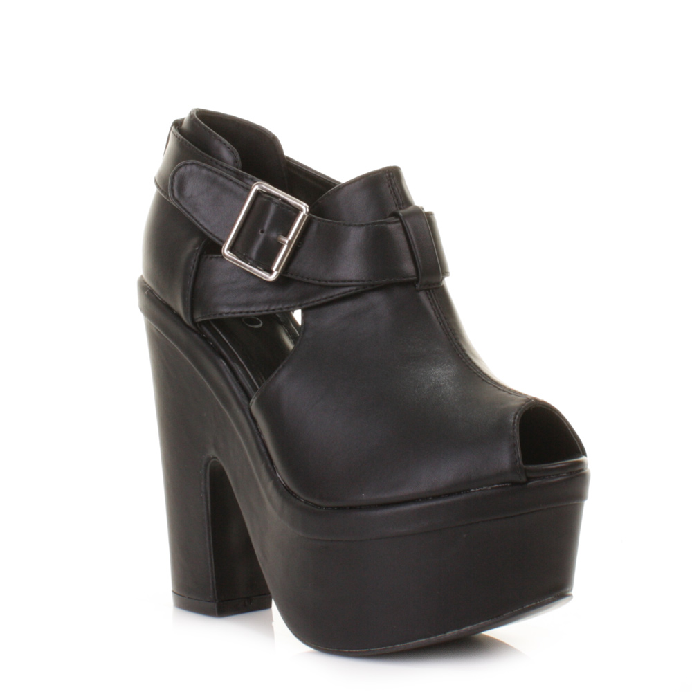 womens black demi wedge high heel buckle ankle