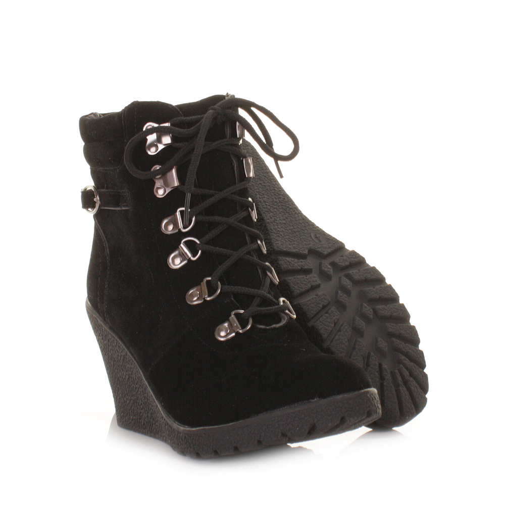 womens black suede style lace up hiker wedge ankle