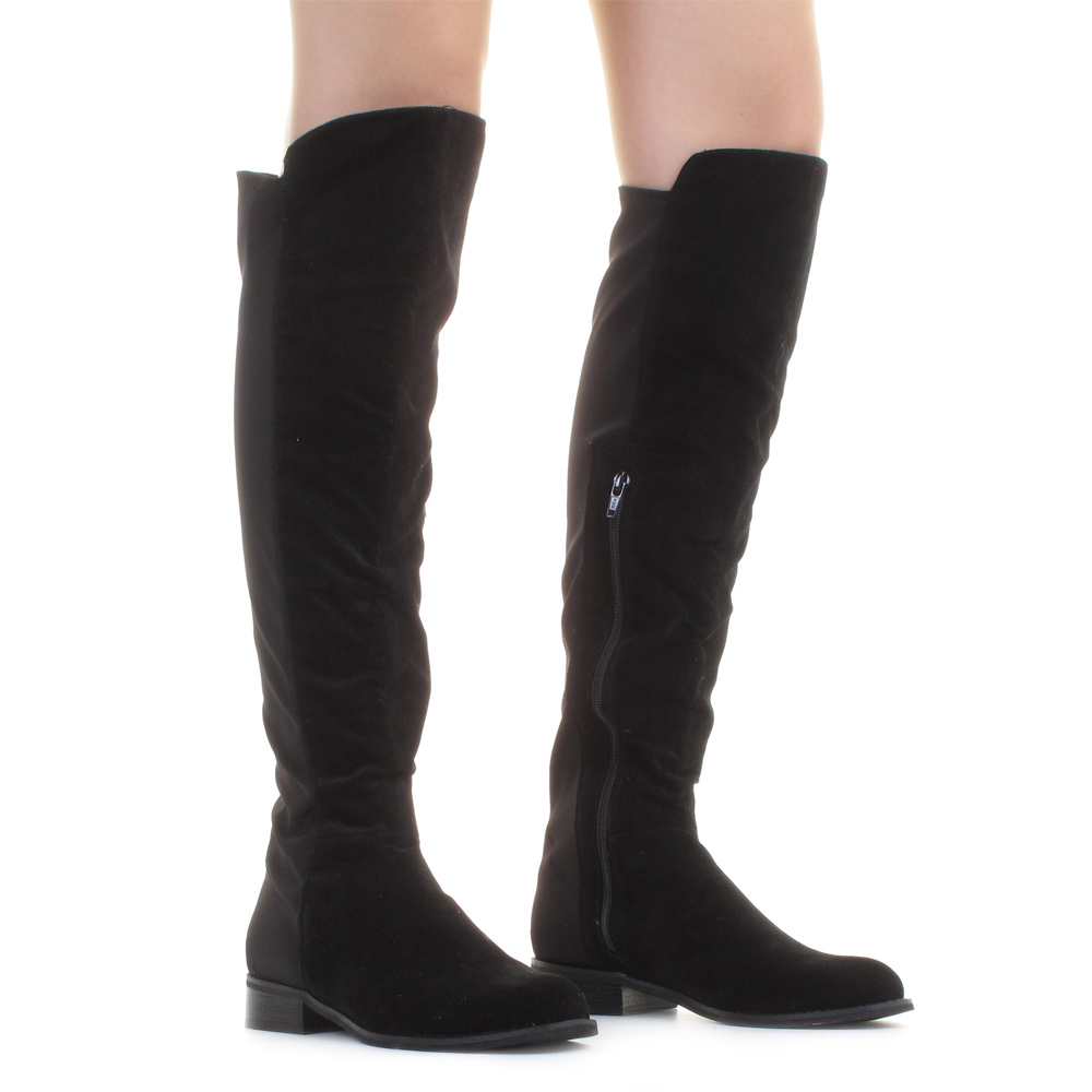 Suedette Flat Stretch Knee High Womens Over Knee Ladies Boots Size ...