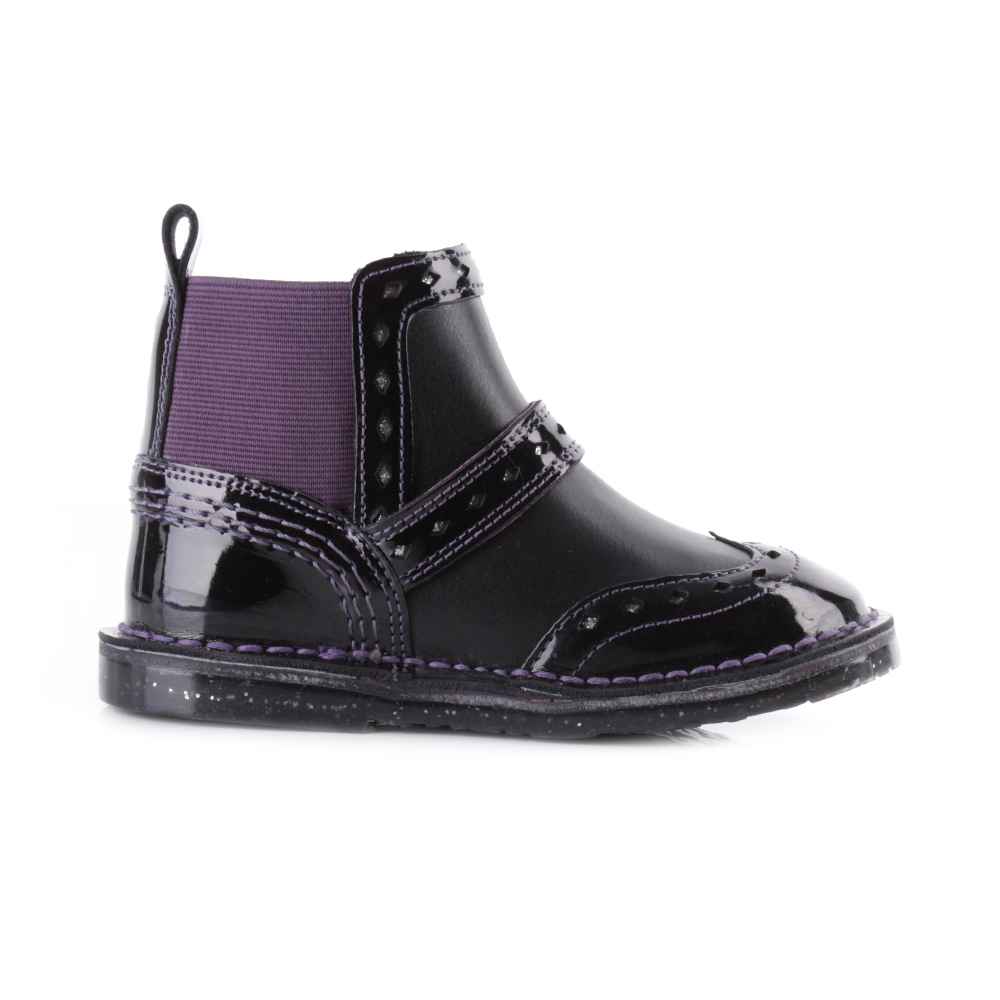 Kickers Girls Infant Adlar Chelsie Patent Black Dark Purple ...