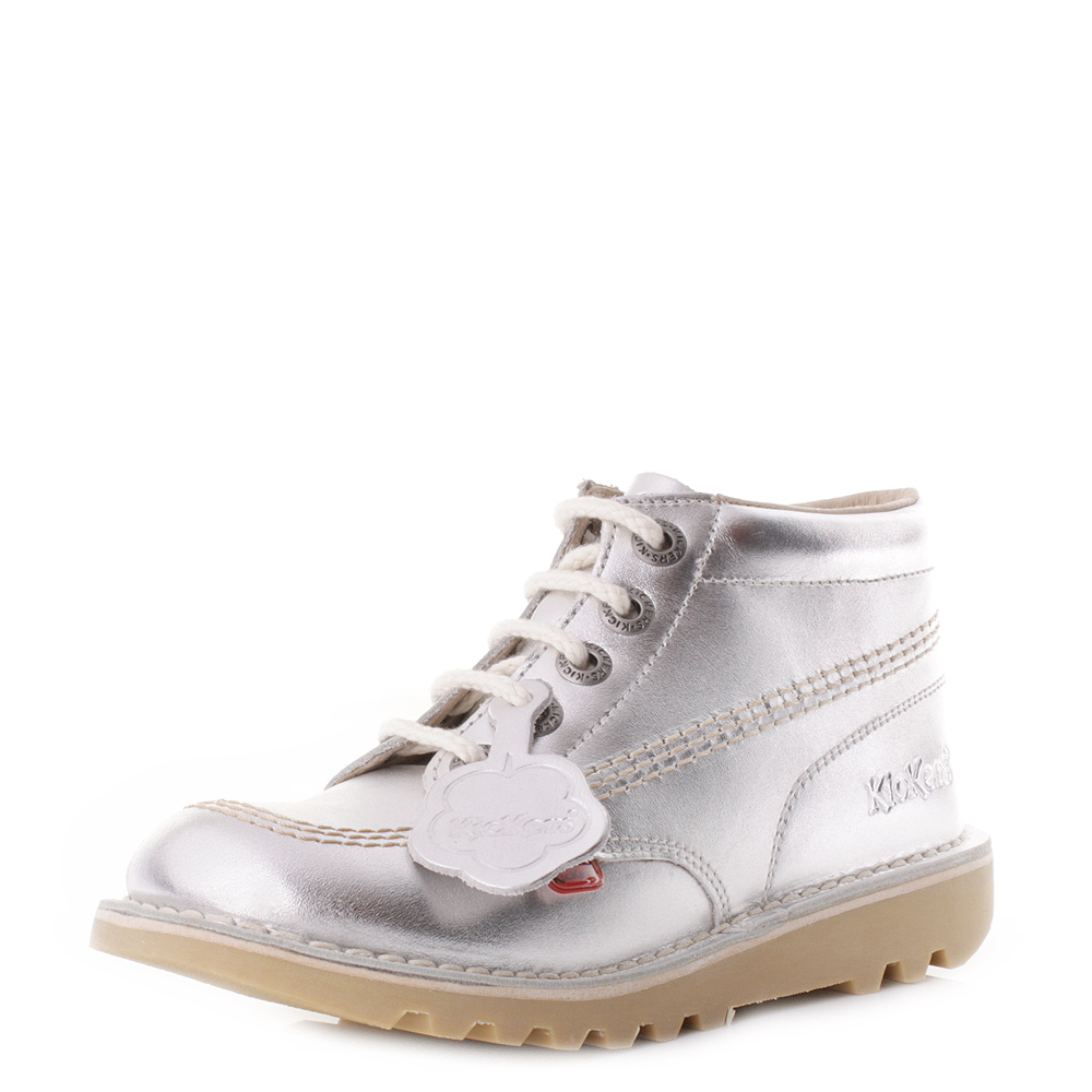 Kickers Kick Hi Junior Kids Silver Natural Girls Leather Ankle ...