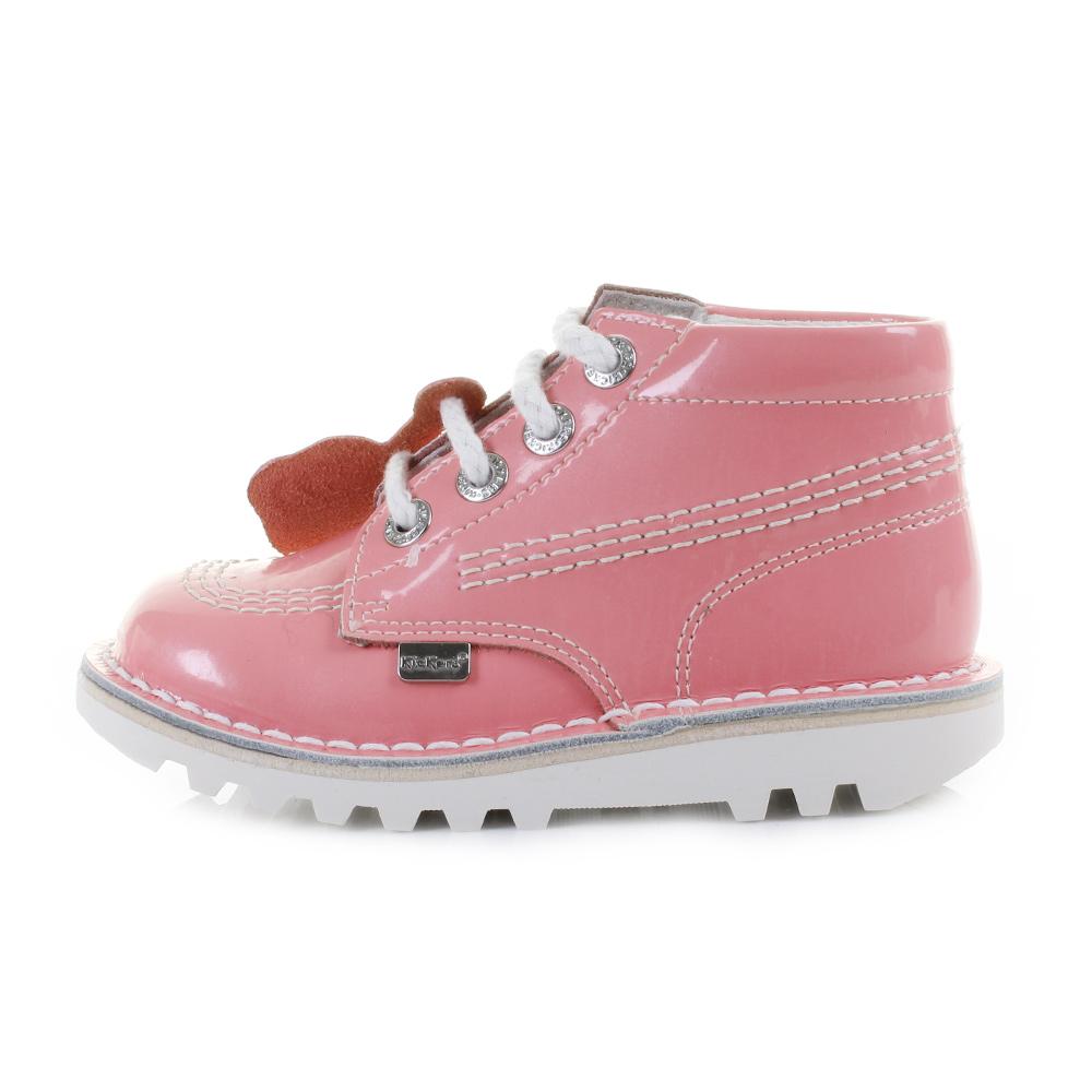 Kickers Girls Kids Infant Kick Hi Patent Light Pink Lace up Boots Shu Size